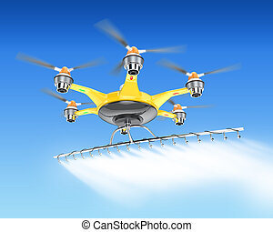 Hexacopter with crop sprayer in sky - Hexacopter with crop...