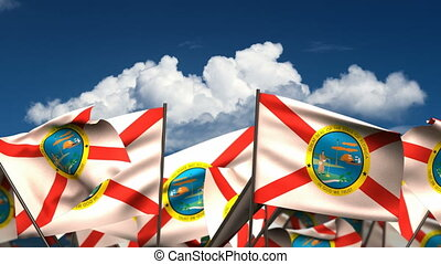 Waving Florida State Flags seamless alpha channel