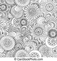 Seamless flower black and white retro background pattern in...