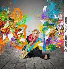 explosion, musik, färgrik