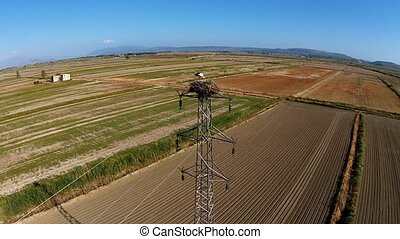 Aerial view at a stork nest on the high voltage transmission tower on the plough land
