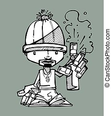 Graffitti artist - Hand drawn vector illustration or drawing...