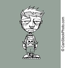Punk boy - Hand drawn vector illustration or drawing of a...