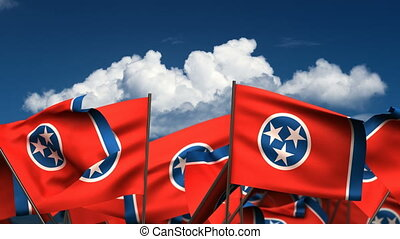 Waving Tennessee State Flags seamless alpha channel