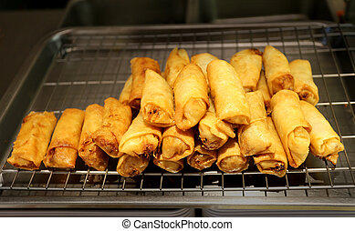 Delicious food spring rolls photographed close up