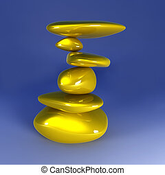 Balancing Gold Nuggets - 3D Illustration Balancing gold...