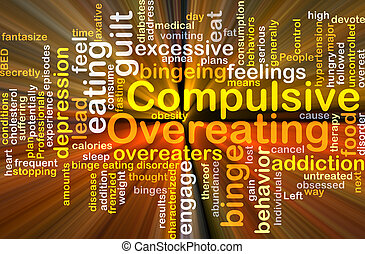 Compulsive overeating background concept glowing -...