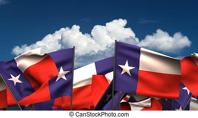 Waving Texas State Flags seamless alpha channel
