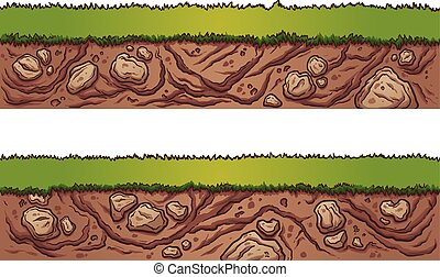 Grass and dirt seamless ground. Vector clip art illustration...