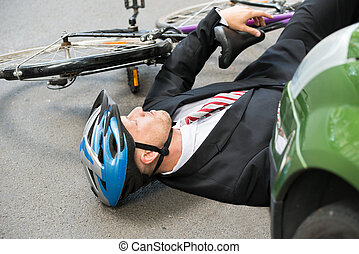 Male Cyclist After Road Accident - Unconscious Male Cyclist...