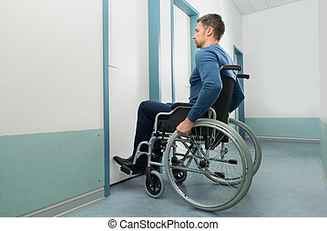 Disabled Man Entering In Room - Disabled Man On Wheelchair...