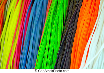 Colorful Shoelaces background texture.
