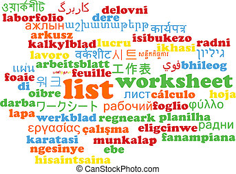 List multilanguage wordcloud background concept - Background...