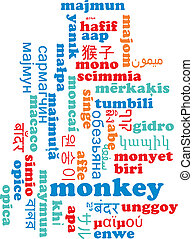 Monkey multilanguage wordcloud background concept -...