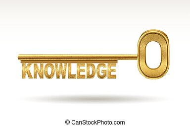 knowledge - golden key isolated on white background