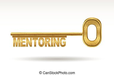 mentoring - golden key isolated on white background