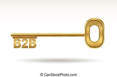 B2B - golden key isolated on white background