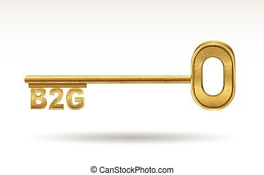 B2G - golden key isolated on white background
