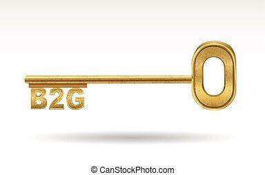 B2G - golden key isolated on white background