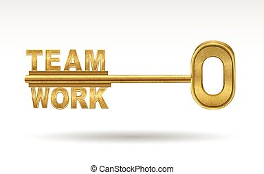 team work - golden key isolated on white background