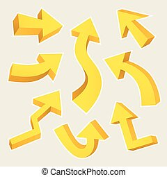 3D yellow arrows set isolated on beige background