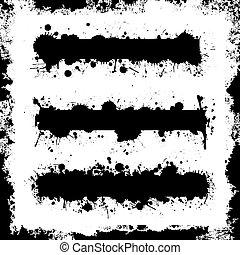 Splatter Banner Set with Grunge Border Vectors