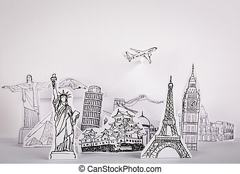 Paper cut of travel (Japan,France,Italy,New...