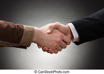 Worker And Businessman Shaking Hand - Close-up Of A Worker...