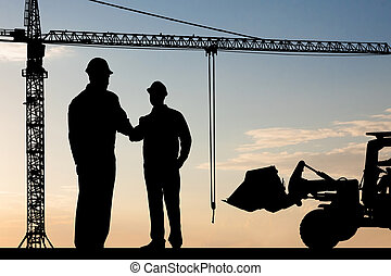 Two Architect Shaking Hand - Silhouette Of Two Architect At...