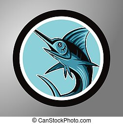 Marlin fish Circle sticker