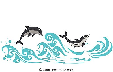 Dolphins - Couple of dolphins jumping in sea waves