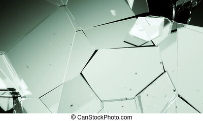 Glass smashed and broken in slow motion and Alpha