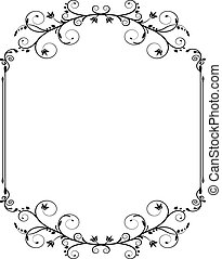 vintage frame with swirls - black vintage frame with thin...