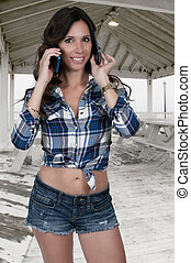 Woman on the Phone - Beautiful woman talking and...