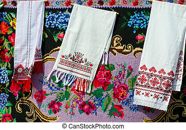 Belorussian towels with vintage ornament on the background...