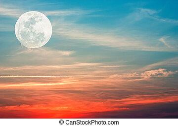 lua, ligado, sky.,
