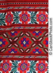 Fragment of traditional ornament on Belorussian towel -...