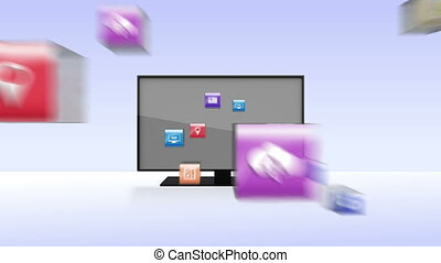 Various Applications into smart TV, wide TV conceptincluded...