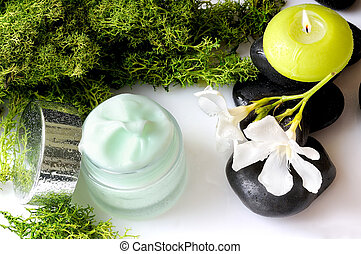 Cream jar algae front view and white background - Open cream...