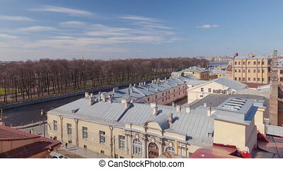 Cityscape day timelapse from roof in Saint Petersburg in...
