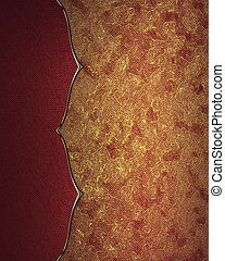Red golden background with decorative trim. Design template....