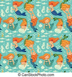 Funny color seamless pattern with mermaids - Underwater...