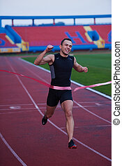 finish - athletic runner finis line track