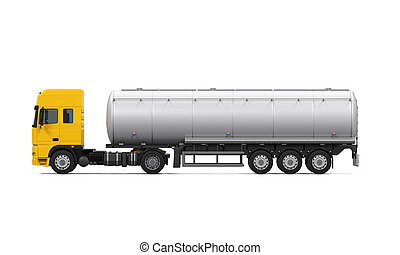 Yellow Fuel Tanker Truck isolated on white background. 3D...