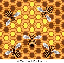 Bees - Seamless pattern with bees