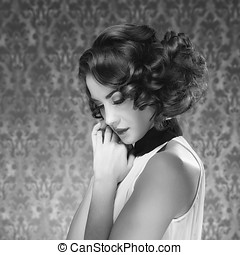 Gorgeous woman vintage toned image in retro room....