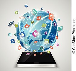 Touchscreen smartphone, globe and s - Illustration of...