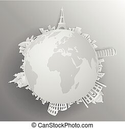 Travel the world monument with concept gray backround