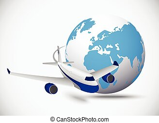 Airliner with globe