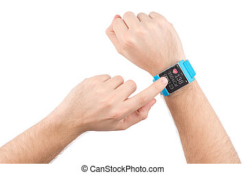 Smart watch with fitness app - Male finger taps on the...